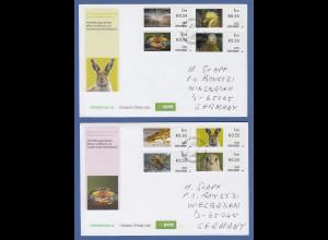 Irland Automatenmarken 2012 Tiere Satz 8 Werte kpl. auf 2 echt gel. FDC's