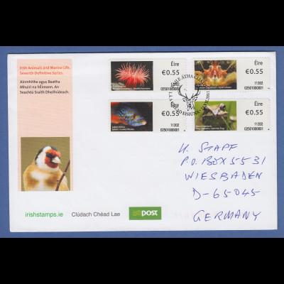 Irland Automatenmarken 2011 Tiere 4 Werte auf echt gel. FDC