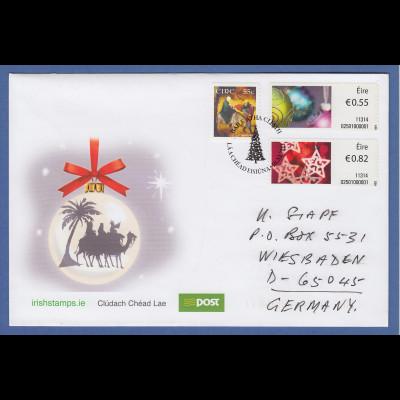 Irland Automatenmarken 2011 Weihnachten 2 Werte auf echt gel. FDC