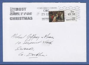Irland Automatenmarken 2012 Weihnachten Mi.-Nr. 42 auf gel. Brief