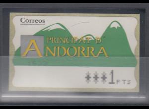 Andorra ATM Berge, Buchdruck, normales Papier, Wert 4-stellig Aut.-Nr. 1533