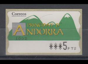 Andorra ATM Berge, Buchdruck, normales Papier, Wert 4-stellig Aut.-Nr. 1002