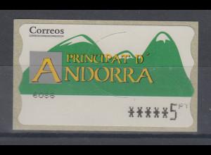 Andorra ATM Berge, Buchdruck, normales Papier, Wert 6-stellig Aut.-Nr. 6086