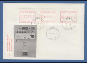 Finnland 1982 FRAMA-ATM Mi.-Nr. 1.1 S1 Satz 90-110-120 auf FDC mit ET-O TURKU