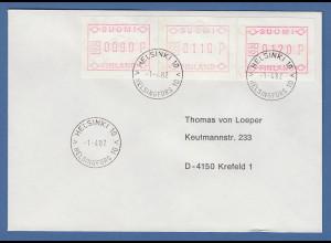Finnland 1982 FRAMA-ATM Mi.-Nr. 1.1 S1 Satz 90-110-120 auf adressiertem FDC