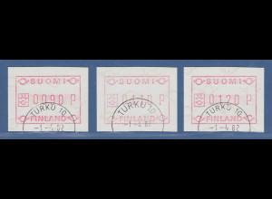Finnland 1982 FRAMA-ATM Mi.-Nr. 1.1 S1 Satz 90-110-120 mit ET-O TURKU