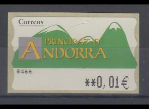 Andorra ATM Berge, Offsetdruck, Wert in € 5-stellig Aut.-Nr. 5466