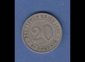 Deutsches Kaiserreich Kursmünze 20 Pfennig 1888 D