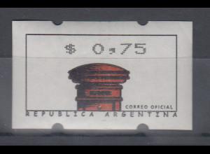 Argentinien, Klüssendorf-ATM Alter Briefkasten, Wert $ 0,75, Mi.-Nr. 2 **