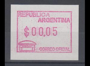 Argentinien, Frama-ATM Alter Briefkasten, Wert $ 00,05, Mi.-Nr. 3 **
