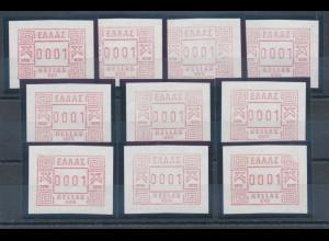 Griechenland-FRAMA-ATM 1984, komplette Serie alle 10 Aut.-Nummern
