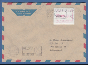Finnland FRAMA-ATM Mi.-Nr. 1.2 Wert 230 aus OA Helsinki auf Brief -> CH, 1.1.88