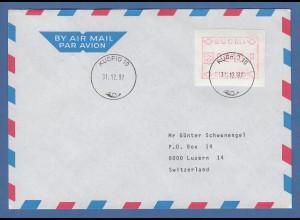 Finnland FRAMA-ATM Mi.-Nr. 1.2 Wert 230 aus OA Kuopio auf Brief -> CH, 31.12.87