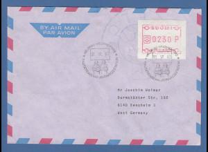 Finnland FRAMA-ATM Mi.-Nr. 1.2 Wert 230 aus OA Helsinki auf Brief -> D, 31.12.87
