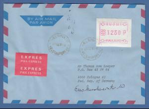 Finnland FRAMA-ATM Mi.-Nr. 1.2 Wert 1230 aus OA Helsinki auf Expr.-Bf. 31.12.87