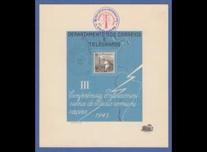 Brasilien 1945 philatel. Gedenkblatt 3. amerikanischen Radiokonferenz gestemp.