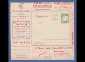 Bayern Privat-Ganzsache Reklame-Kartenbrief mit 5 Pfg Wappen Barbarino & Kilp