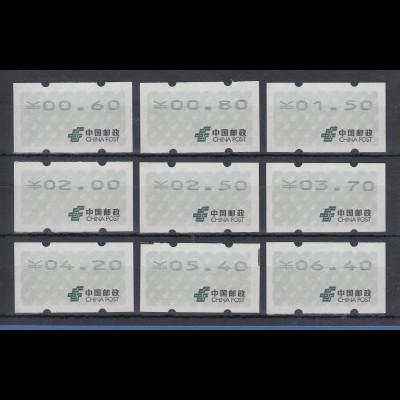 VR China Automatenmarken kompletter Satz 9 Werte 0,60 - 6,40 ** / MNH