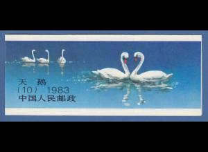 VR China 1983 Markenheftchen SB 10 Schwäne # 1906-09 D PR China booklet MNH