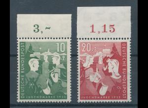Bundesrepublik 1952 Jugendmarken, Mi.-Nr. 153-154 Oberrandstücke **