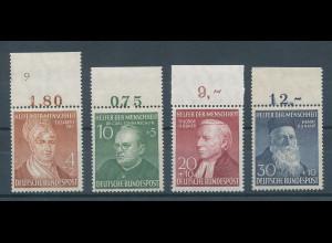 Bundesrepublik 1952 Wohlfahrt, Mi.-Nr. 156-159 Oberrandstücke **