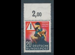 Bundesrepublik 1953 Verkehrsunfall-Verhütung, Mi.-Nr. 162 Oberrandstück **