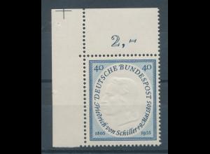 Bundesrepublik 1955 Friedrich Schiller, Mi.-Nr. 210 Eckrandstück **