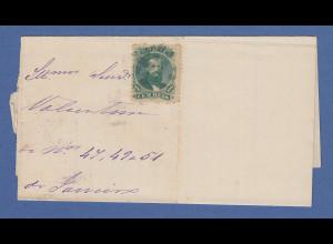 Brasilien Brieffragment mit Dom Pedro 100R gez, stummer Punkt-Stempel, 1875