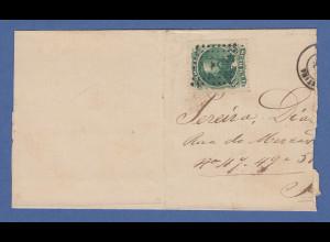 Brasilien Brieffragment mit Dom Pedro 100R gez, stummer Rauten-Stempel aus 1871