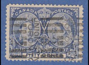 Kanada 1897 Thronjubiläum Victoria, 50Cent-Wert blau, Mi.-Nr. 48 gebraucht