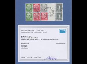 Bundesrepublik Heuss 10erEinheit mit u.a. ZSD Mi.-Nr. WZ15bYII gest. gepr. BPP
