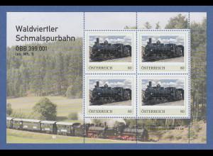 Österreich 2018 Eisenbahn Waldviertler Schmalspurbahn ÖBB 399.001 Blockausg. **