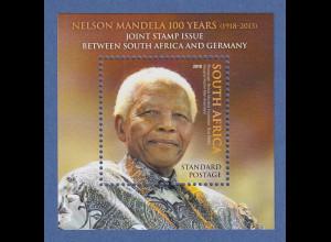 Südafrika 2018 Block Nelson Mandela Gemeinschaftsausgabe mit Deutschland **