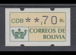 Bolivien Klüssendorf ATM **,70 postfrisch, Mi.-Nr. 1
