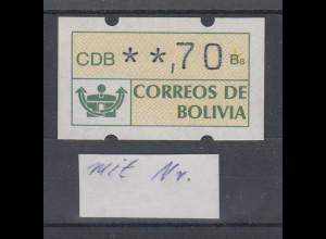 Bolivien Klüssendorf ATM **,70 postfrisch, mit rückseitiger Zählnummer Mi.-Nr. 1