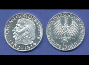 Bundesrepublik 5DM Silber-Gedenkmünze 1964, Johann Gottlieb Fichte