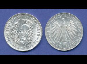 Bundesrepublik 5DM Silber-Gedenkmünze 1966, Gottfried Wilhelm Leibniz