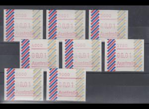 Australien Frama-ATM 1. Ausgabe 1984, Balken, Serie 8 Postcodes 2000-7000 kpl **