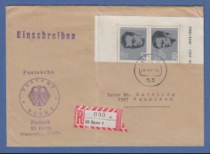 Bund 1964 Widerstand Mi.-Nr. 434 und 438 ZSD auf R-Postsache aus 5300 Bonn