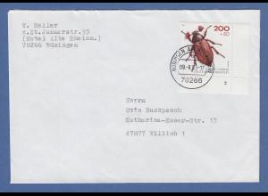 Bund 1993 Maikäfer Mi.-Nr. 1670 mit Formnummer auf Brief 78266 Büsingen