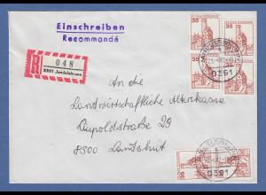 Bund Burgen und Schlösser 35Pfg Mi.-Nr. 1139 per 6 auf R-Brief aus Jandelsbrunn