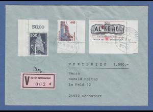 Bund Eckrandstücke Mi.-Nr. 859, 1145 und 1811 auf V-Brief Gröbenzell, 1998