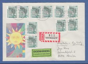 Bund 1987 SWK 80er unten geschnitten Mi-Nr 1342D per 10 auf R-Eig-Brief Würzburg