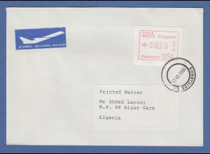 RSA Südafrika FRAMA-ATM aus OA P.001 Pretoria Wert 00.25 auf Brief nach Algerien