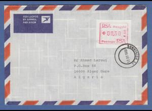 RSA Südafrika FRAMA-ATM aus OA P.001 Pretoria Wert 00.30 auf Brief nach Algerien