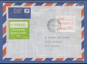 RSA Südafrika FRAMA-ATM aus OA P.001 Pretoria Wert 00.44 auf Certified-Brief