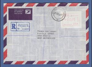 RSA Südafrika FRAMA-ATM aus OA P.001 Pretoria Wert 00,95 auf R-Brief nach D