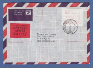 RSA Südafrika FRAMA-ATM aus OA P.001 Pretoria Wert 02,10 auf Expres-Brief nach D