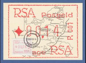 RSA Südafrika FRAMA-ATM P.001 aus OA Wert 00,14 auf Maximumkarte mit VS-Stempel