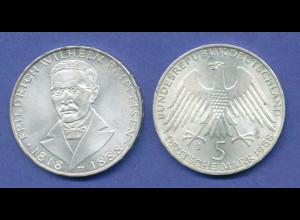 Bundesrepublik 5DM Silber-Gedenkmünze 1968, Friedrich Wilhelm Raiffeisen